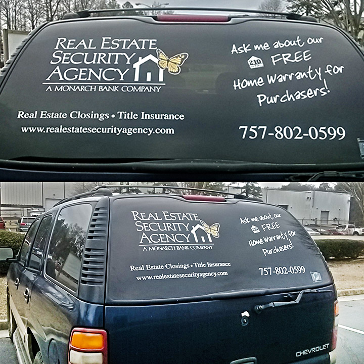 Real Estate Security Agency Truck Window Graphics